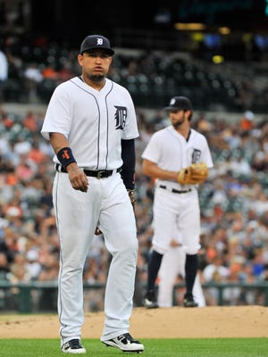 Tigers first baseman Miguel Cabrera strained his left biceps muscle in a collision at first base with Kansas City's Cheslor Cuthbert Monday night. Cabrera will get the night off Tuesday.