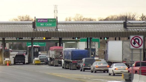 A toll booth in the 570-mile New York State Thruway