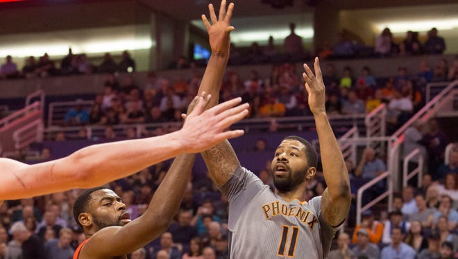 Suns Forward Markieff Morris (11) shoots the ball against the New Orleans Pelicans at US Airways Center on March 19, 2015, in Phoenix.
