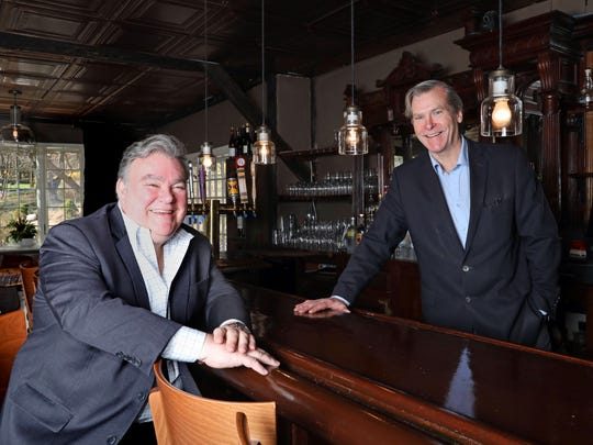 John Crabtree, right, proprietor of the Crabtree's Kittle House Restaurant & Inn, and chef/owner Peter X. Kelly of Xaviars Restaurant Group at the Crabtree Kittle House in Chappaqua April 24, 2018. The two are celebrating milestones in the business. Kelly, opened his first restaurant 35 years ago and Crabtree has been running his family-owned property for 37 years.