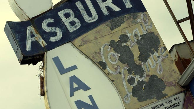 The old marquee of Asbury Lanes.