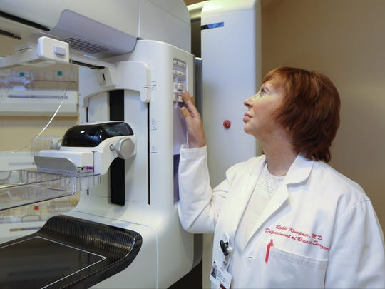 Dr. Robbi Kempner with a mammography scanner at Nyack