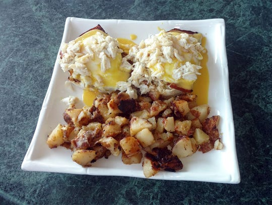 A Blue Crab Eggs Benedict special at Crabby Lady Restaurant,