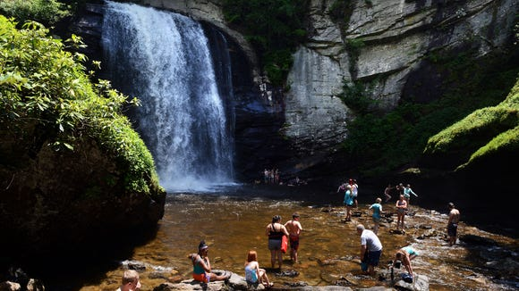 Looking Glass Falls is one of the most popular sites in the Pisgah National Forest.