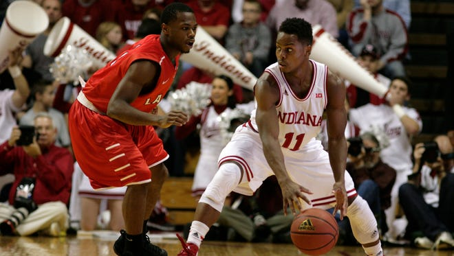 Junior guard Yogi Ferrell (11) is a primary catalyst in Indiana's noticeable reduction in turnovers, early in the season.