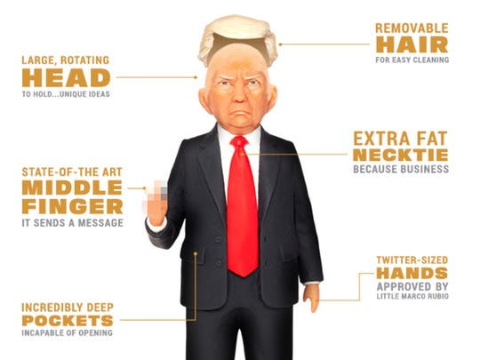 Trump action figure. Available from fctry.com.