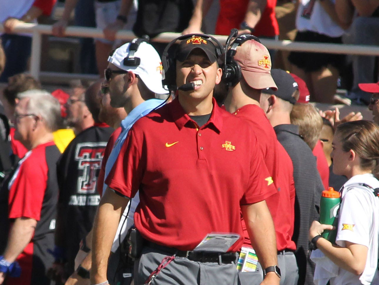 Iowa State Cyclones head coach Matt Campbell on the sidelines during the game against the Texas Tech Red Raiders at Jones AT&T Stadium.
