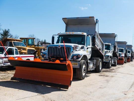 Salt and plow trucks ready in case of snow at Vineland Public Works on Thursday, April 5.