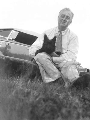 President Franklin D. Roosevelt with his Scottie, Fala.
