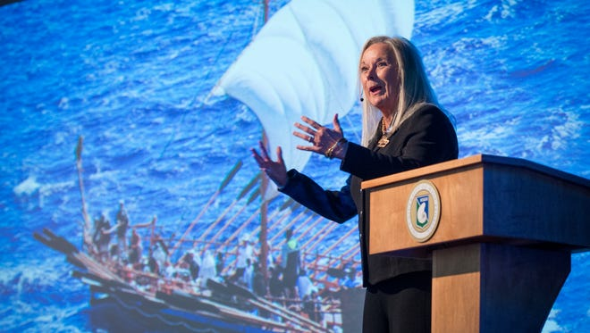 In front of a rendering of the Argo ship, University of West Florida President Martha Saunders delivers her annual 'State of the University' address on Thursday, Sept. 28, 2017, in the auditorium of the University Commons.
