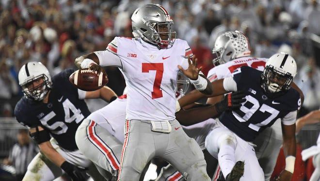 Ohio State quarterback Dwayne Haskins looks to throw against Penn State.