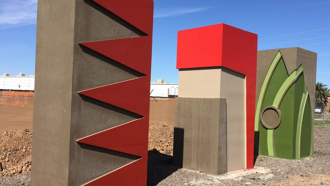 The South Mountain Freeway, which will run through southern portions of the Phoenix area, will feature five distinctive aesthetic character areas. Samples of the freeway art was on display in March 2017 near 59th Avenue and Washington Street in Phoenix.