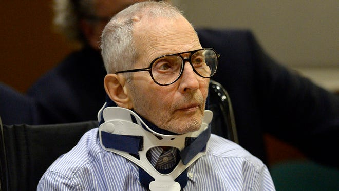 FILE - In this Nov. 7, 2016 file photo, real estate heir Robert Durst sits during a long-awaited appearance in a courtroom in Los Angeles.
