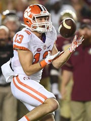 Clemson wide receiver Hunter Renfrow (13)  makes a reception against Florida State during the 1st quarter at Florida State's Doak Campbell Stadium in Tallahassee, Fl. on Saturday, October 29, 2016.