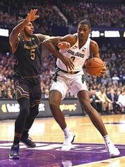 Michigan State forward Jaren Jackson Jr. (2) drives