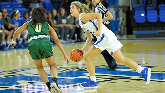 MTSU freshman guard Anna Jones dribbles during a game against UAB on Jan. 6.