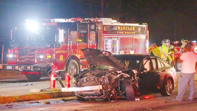 Wareham public safety personnel responded to the scene of a serious accident at Route 28 and 195, involving a crash vs. a Wareham Fire Dept. truck tonight.