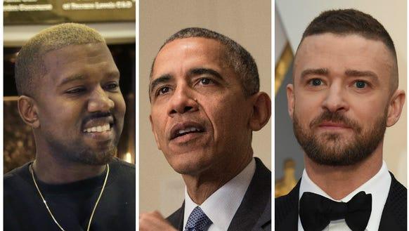 Kanye West, Barack Obama and Justin Timberlake had