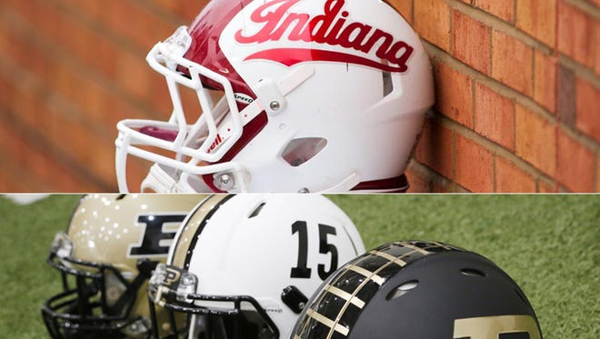 Indiana and Purdue football helmets