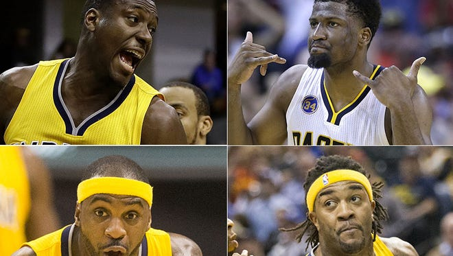 Will these players be with the Indiana Pacers next season? (Clockwise from top left): Ian Mahinmi, Solomon Hill, Jordan Hill, Ty Lawson