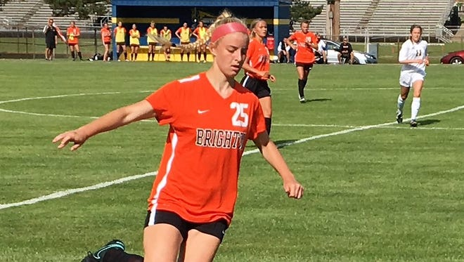 Junior defender Olivia Cogo scored three first-half goals for Brighton in a 3-1 victory over Portage Central in a regional semifinal soccer game on June 6, 2017.