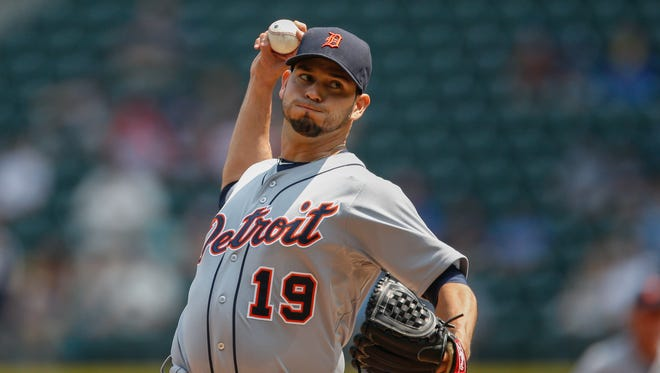 Starting pitcher Anibal Sanchez of the Detroit Tigers pitches against the Seattle Mariners in the first inning at Safeco Field on July 8, 2015 in Seattle, Washington.