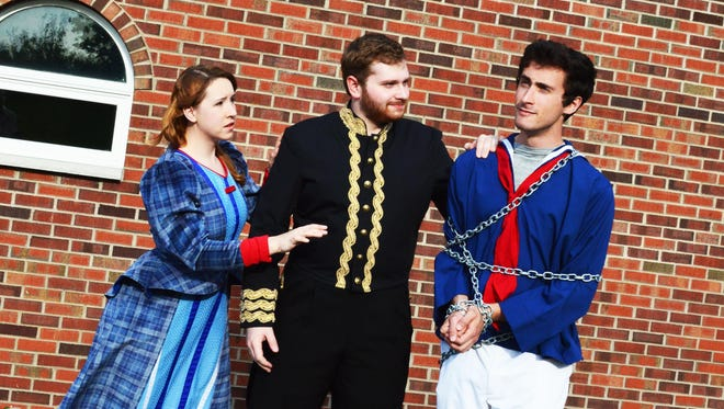 """Starring in the Summer Savoyards production of """"H.M.S. Pinafore"""" are, from left, Jana Kucera, Dylan Ruffo and Cole Tornberg."""