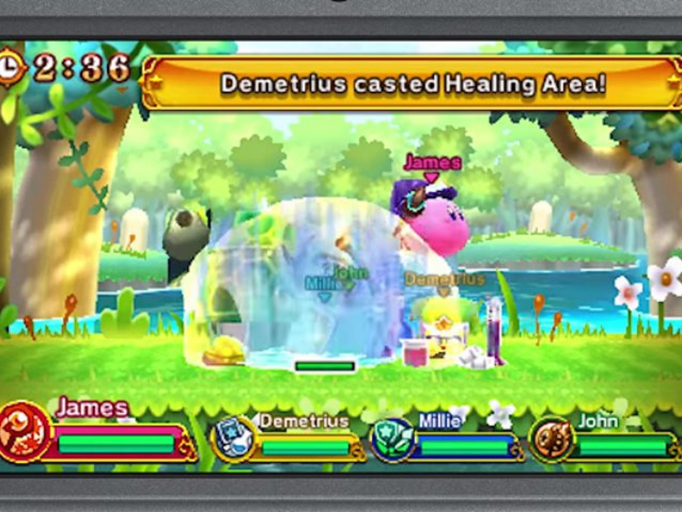 Kirby Team Clash is a fun co-op mode with friends or the AI in Kirby Planet Robobot.