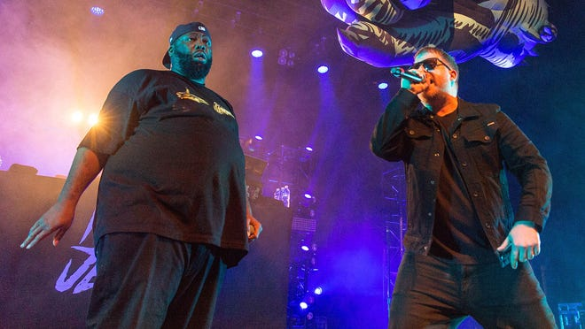 Michael Render (Killer Mike), left, and Jaime Meline perform together as  Run The Jewels.
