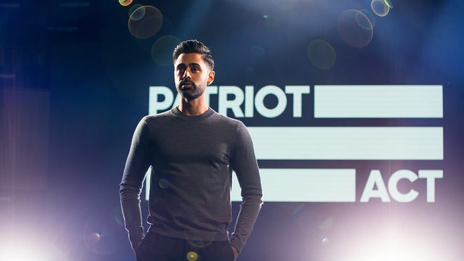 "Hasan Minhaj in ""Patriot Act."""