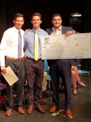 Chris Callaghan, lefti to right, Mike Pergolizzi and John McMahon, co-founder of Educ845, are shown during the award ceremony.