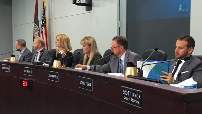 County Commissioners on Tuesday rejected Commissioner John Tobia resolution to censure hotelier and tourism official Jim Ridenour. From left are County Manager Frank Abbate, Commissioner Curt Smith, Vice Chair Kristine Isnardi, Chair Rita Pritchett, Commissioner Jim Barfield and Tobia.