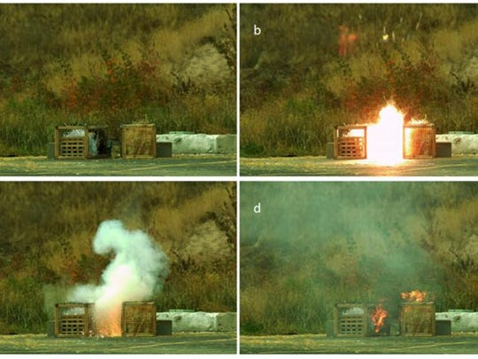 Photos from a test conducted by the U.S. Forest Service showing that exploding targets can cause fires.