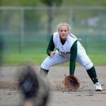 CMR third baseman Laura Poitra gets set as a pitch is delivered during Thursday's game against Helena High at the State AA softball tournament in Kalispell.