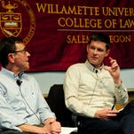 Panelists Prof. Steve Green, from left, Bob Reinhardt, executive director of Willamette Heritage Center, Dr. Jay Rosenbloom and Sen. Elizabeth Steiner Hayward during the Vaccines & Our Health forum, sponsored by the Statesman Journal and the Willamette University College of Law, inside Paulus Hall, Thursday, April 16, 2015, in Salem.