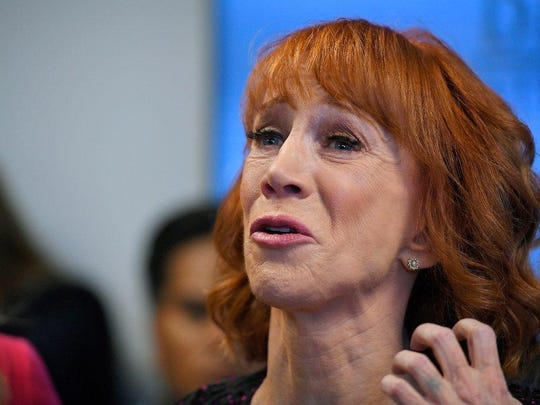"""Comedian Kathy Griffin released a picture holding a mock """"decapitated"""" head of President Trump."""