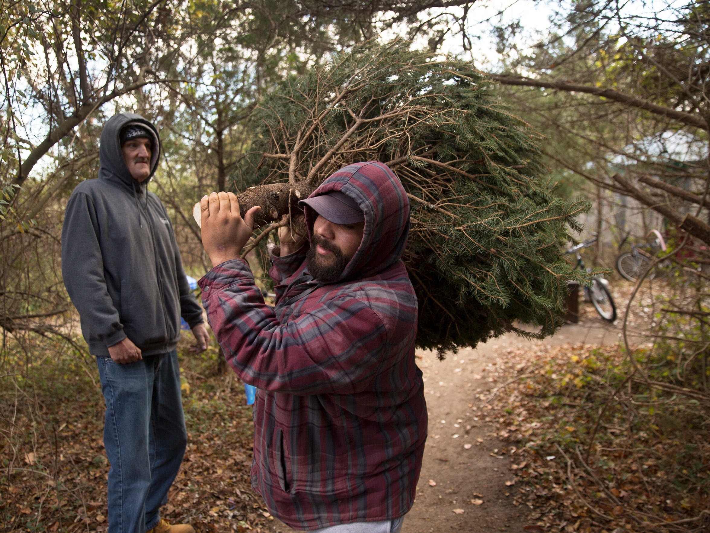 Camper Matt Alvarez carries in a Christmas tree that