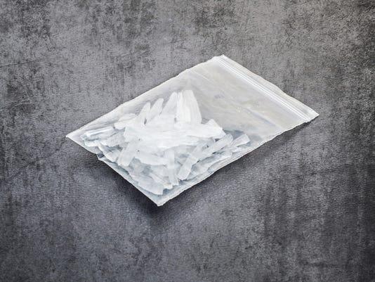 A bag of white crystal methamphetamine