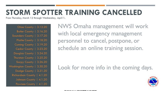 Storm Spotter training for some counties has been postponed by the National Weather Service.