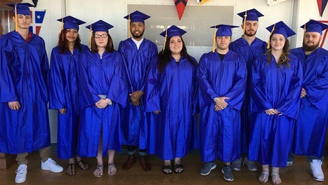 The 2018 Wellspring adult education graduates pose on June 12, 2018. From left, Coleman Connolly, Madison Valentine, Teresa Quintero, Khaylid Smith, Ariana Cain, Abraham Kinney, Patrick O'Neil, Jessica Foley, Ryan Keyes.