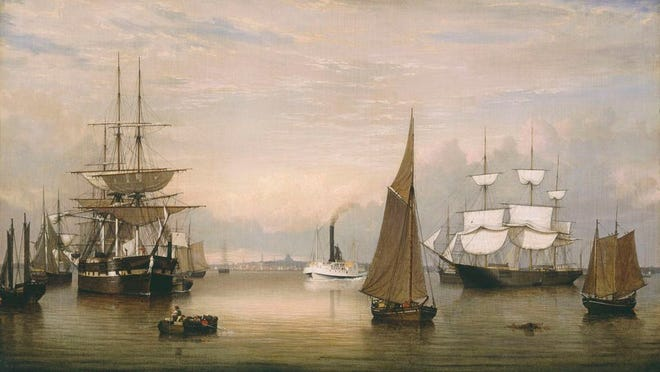 Here is a painting of the Boston Harbor by Fitz Henry Lane in 1856.