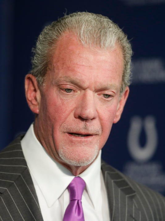 Indianapolis Colts owner Jim Irsay speaks during a news conference Tuesday, Jan. 6, 2015, in Indianapolis. The Colts will play the Denver Broncos in a divisional playoff football game on Sunday. (AP Photo/Darron Cummings)