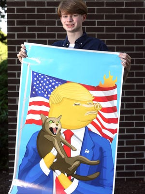 Morristown High School junior Liam Shea who was asked to remove his satirical artwork of President Donald Trump  Trump with a pig snout and hooves grabbing a snarling cat. June 13, 2017, Parsippany, NJ.