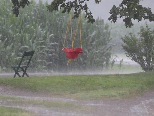 Rainstorm at an Ontario County dairy farm, July 20, 2017
