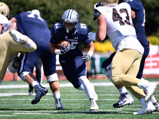 Monmouth University running back Pete Guerriero, shown here Saturday against Lehigh, is third in the nation in rushing as the Hawks prepare to face the University of Albany on Saturday evening