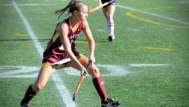 Salisbury's Kristen Yingling prepares to defend a pass from a Ursinus player in the NCAA playoffs on Sunday, Nov. 13, 2016 at Sea Gull Stadium.