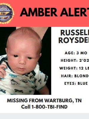 Amber Alert issued for three-month-old Russell Roysden, who was kidnapped in Wartburg.