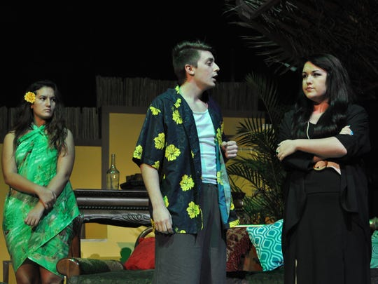 """(From left) Louisiana College students Nicole Kiefer and Jeremy Manuel along with Mackenzie Trotter rehearse Tuesday night for theatre louisiana college's production of Shakespeare's """"12th Night."""""""