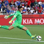 United States goalkeeper Hope Solo takes a goal kick against China during their Women's World Cup quarterfinal match Friday in Ottawa, Canada.