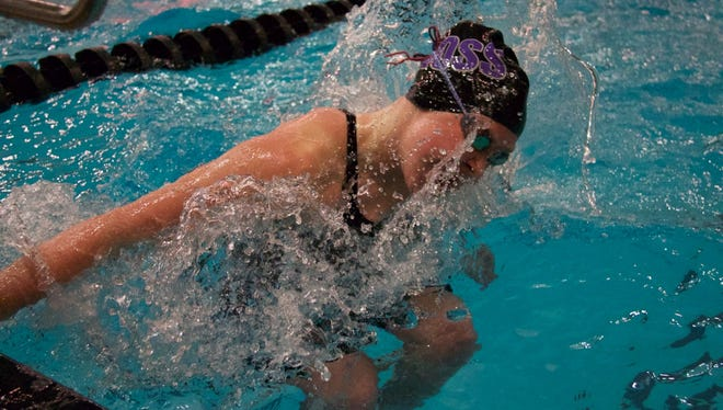 Freshman Alexis Prenzlin of Fremont Ross competes in the 100 breaststroke at the State Swim Meet.